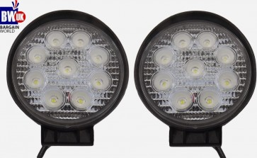 2 x 27w 9 LED Driving Work Light Flood Lamp Offroad Trailer SUV Jeep 4x4 Round