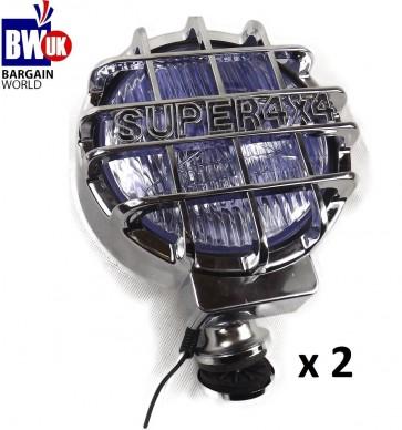 """2 X CHROME 4X4 6.61"""" OFFROAD FOG SPOT HEAD LIGHT DRIVING BEAM BAR UNIVERSAL LAMP LIGHTS"""
