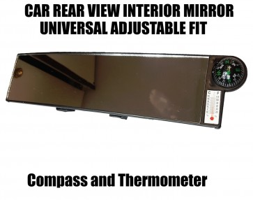 30CM Wide Car Rear View Mirror Interior Large Clip On - Compass Thermometer AC64