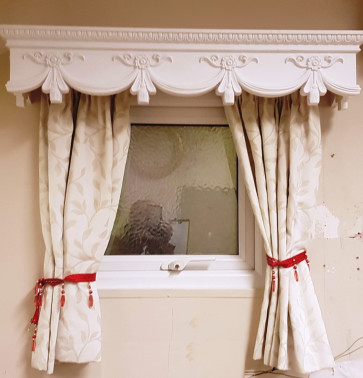 CURTAIN BOX VALANCE PELMET WINDOW DOOR CORNICE COVER VICTORIAN 4 FEET 48 INCHES LONG  (122 CM X 18.5 CM HIGH X 18.5 CM  )  Weight 2.2 kg