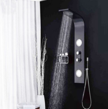 Black Shower Column Tower Panel With Twin Heads Body Jets