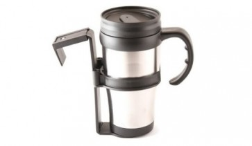 TRAVEL MUG VEHICLE STAINLESS STEEL HOT COLD NO SPILL PLASTIC HOLDER CA16