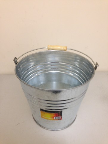 GALVANISED STEEL BUCKET 12 LTR HEAVY DUTY GARDEN WATER COAL CARRY HANDLE CA21
