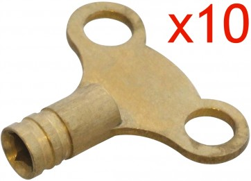 BRASS RADIATOR KEY 10 PACK PLUMBING TOOL BLEED AIR VALVE SOLID HEAVY DUTY CA44
