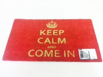 KEEP CALM & COME IN COIR PVC BACKED DOOR MAT RED ENTRANCE DOORMAT CA80