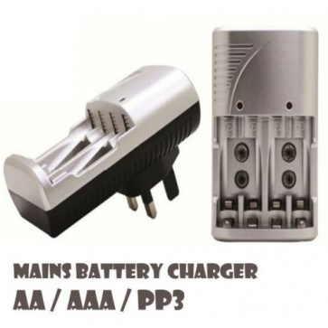 Fast Charging Mains Battery Charger AA, AAA, 9V PP3 Rechargeable Baterries H10