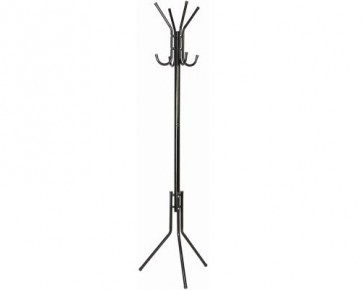 8 HOOK HAT & COAT STAND HANGER RACK BLACK 175CM ASSEMBLY REQUIRED 1.6KG H12