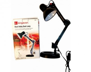 HOBBY DESK LAMP BLACK ADJUSTABLE REACH ARM LIGHT TILT SWIVEL HEAD MAINS H17
