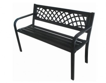 METAL GARDEN BENCH SEAT CHAIR OUTDOOR SEATING BLACK STEEL FRAME PVC BACK H21