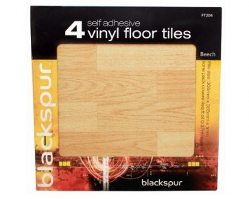 4PK SELF ADHESIVE FLOOR TILES BEECH EFFECT FLOORING 4 SQ FT COVERED H30BEECH