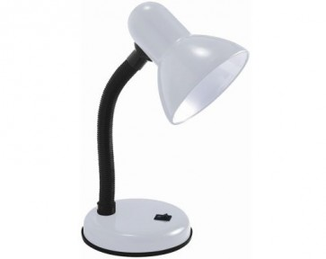 WHITE DESK LAMP OFFICE LIGHT TABLE LIGHTING INDOOR FLEXIBLE NECK MAINS PLUG H32