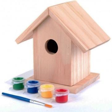 PINE KIT Garden Nest Box CHILDRENS CRAFTS 4 COLOURS + BRUSH H35