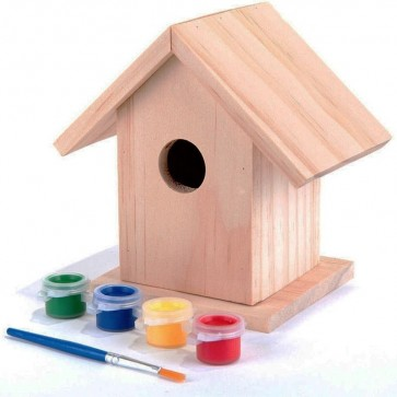 PINE KIT Garden Nest Box CHILDRENS CRAFTS 4 COLOURS + BRUSH H4
