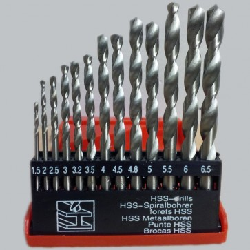 HSS DRILL BITS SET 13 PC HIGH SPEED TITANIUM COATED STEEL HEX SHANK 1.5 - 6.5MM