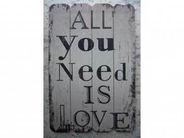 WOODEN HANGING SIGN POST PLAQUE 'ALL YOU NEED IS LOVE' GARDEN DOOR HOME LS10