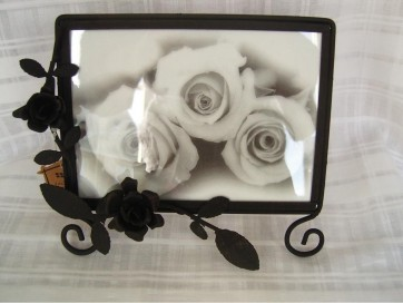 BLACK METAL PHOTO FRAME SQUARE 5 X 7 PHOTO PICTURE SHABBY CHIC HANGING LS11