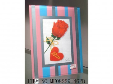 STRIPES GLASS PHOTO FRAME SQUARE 6 X 4 PHOTO PICTURE SHABBY CHIC CLIP STAND LS15