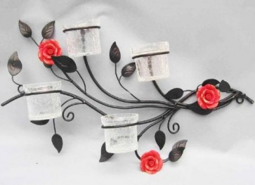 Quadruple Tealight Holder - Wall Mounted candle holder red polyresin rose LS4