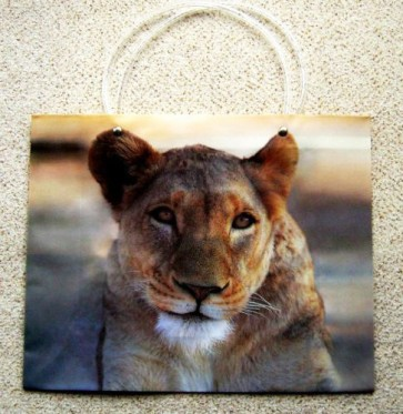 1 x Large Reusable Decorative Gift Bag Carrier Lioness Lion 33 x10x26cm LS5