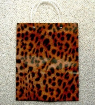1 x Large Reusable Decorative Gift Bag Carrier Leopard Spots 23 x 10 x 30cm LS6
