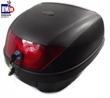 MOTORBIKE BIKE TOP BOX 28L LITRE STORAGE REAR BACK MOPED SCOOTER LUGGAGE CASE UK