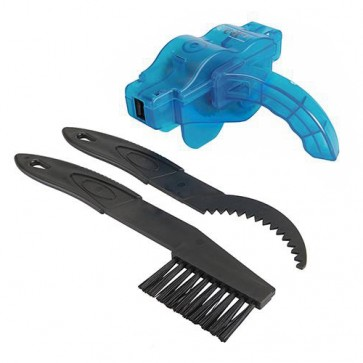 BRAND NEW CHAIN & GEAR CLEANING SET 3PCE BRUSH SCRAPER BICYCLE CYCLE BIKE P22