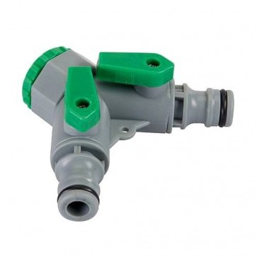"2-WAY TAP CONNECTOR 3/4"" BSP TO 1/2"" MALE SHUT OFF VALVES GARDEN HOSE P309"