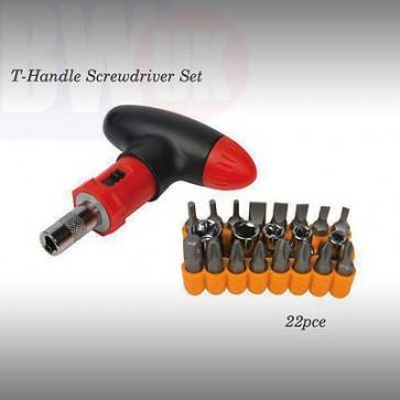 T-HANDLE SCREWDRIVER SET 22 RATCHET sockets 4, 5, 6, 8,10 16mm scew driver -S29