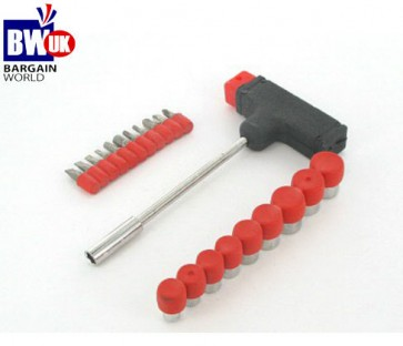 21 Piece Socket and Bit Set Screwdriver + Slotted Bits 3 4 5 8mm T handle -S9