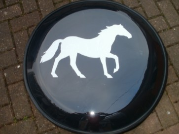 Semi Rigid Plastic 4x4 Wheel cover with Horse vinyl white sticker