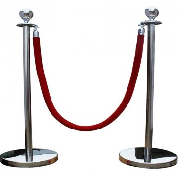 silver QUEUE BARRIER POSTS WITH 1.5M TWISTED RED BLUE ROPE