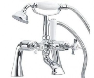 VICTORIAN TRADITIONAL BATH SHOWER MIXER TAP WITH SHOWER HANDLE CHROME (T1-BATH)