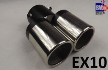 TWIN DUAL EXHAUST TRIM TIPS MUFFLER PIPE CHROME TAIL STRAIGH 60MM UNIVERSAL FIT