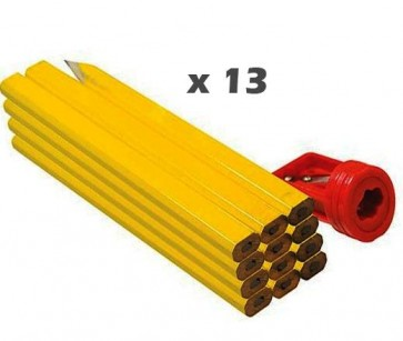 CARPENTERS PENCILS 12 PACK MARKING TIMBER BRICK JOINTER + SHARPENER U138
