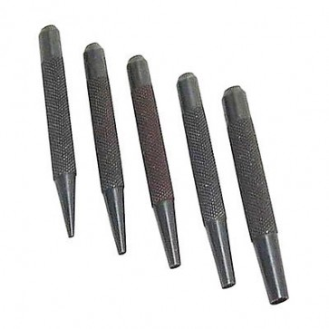 5 Piece Nail Punch Set 1.5, 2.5, 3, 4 and 5mm Steel Knurled Grip Punches U141