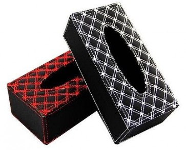TISSUE BOX COVER HOLDER BRAIDED PADDED BLACK OR RED CAR MOTORHOME HOME VAN U232