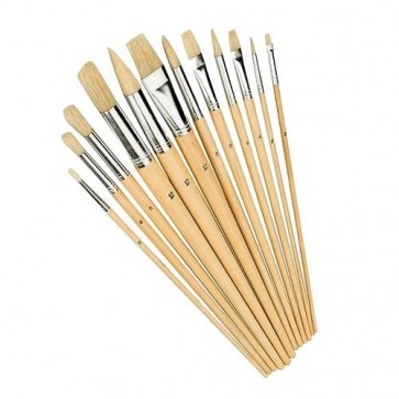 MIXED TIP BRUSH SET 12PCE 2 - 12 MM TIPS DECORATING PAINT HAND TOOLS TOOL U251