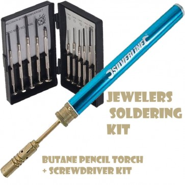 JEWELERS SOLDERING KIT BUTANE PENCIL TORCH + PRECISION SCREWDRIVER SET U30
