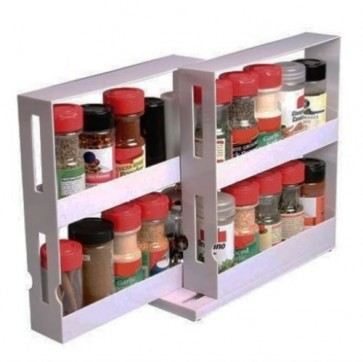 SPICE BOTTLES SWIVEL STORE KITCHEN SHELF TIDY HOLDER TRAY CABINET ORGANIZER U65