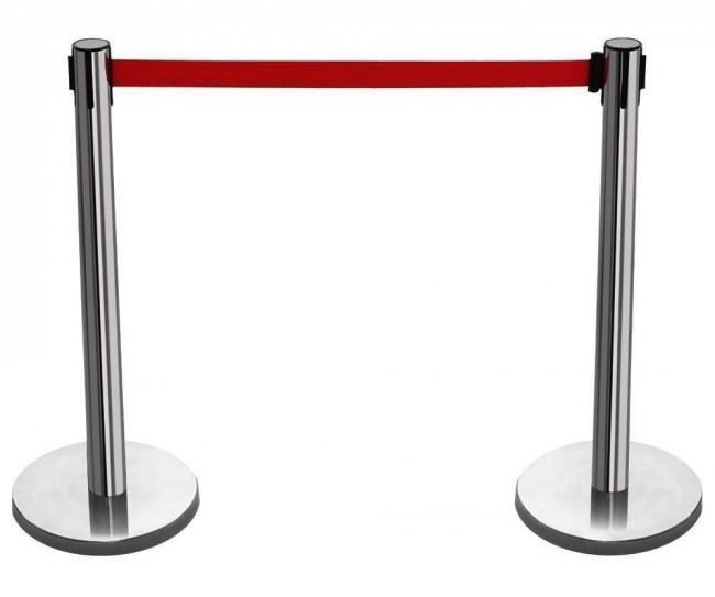 2 x silver queue barrier posts security stanchion divider steel set pair bar r click. Black Bedroom Furniture Sets. Home Design Ideas