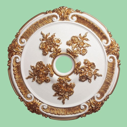 Ceiling Rose Gold White Beautiful Ornate Home Decor 52cm