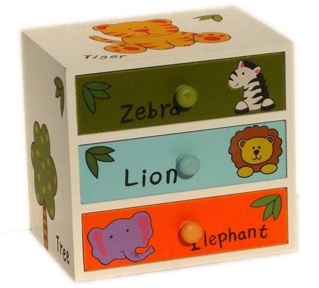 Wood Effect Kids Playroom Bedroom Storage Chest Trunk: CHILDRENS ANIMALS STORAGE BOX CHEST 3 KIDS DRAWER BEDROOM