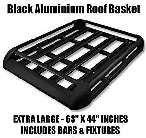 Large Black Aluminium Roof Rack Basket Tray Luggage Cargo Carrier With Bars  4x4 Van Fits Disovery