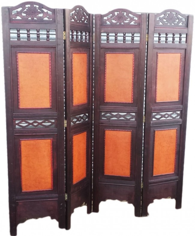 4 PANEL VICTORIAN WOODEN SCREEN ROOM DIVIDER FOLDABLE PARAVENT