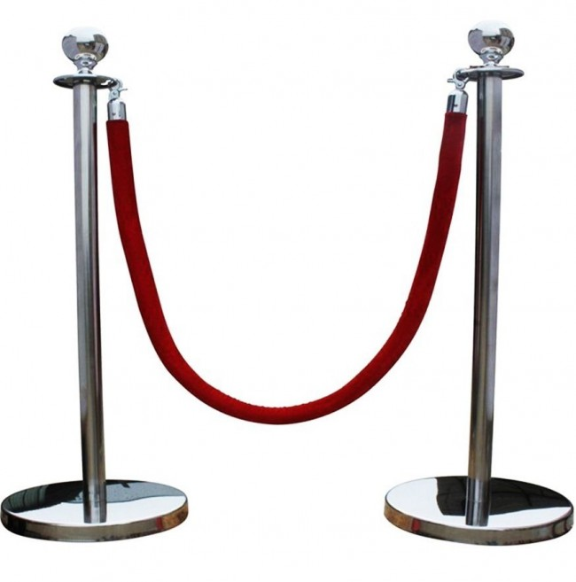 Steel Queue Barrier Posts With 1 5m Twisted Red Blue Rope