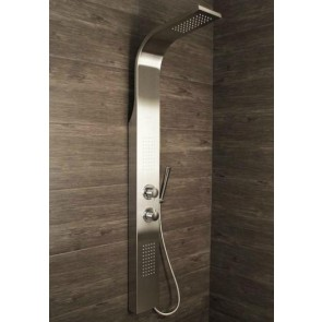 Shower Panel Column Thermostatic Tower w/ Body Jets + Waterfall Bathroom Shower