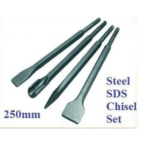 STEEL SDS+ 4 PCE CHISEL SET FLAT POINT GROOVE GOUGE DRILL HAMMER DRILL 250MM -T3