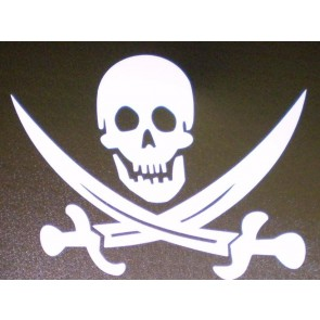 SKULL & BONES WHITE PERMANENT STICKER