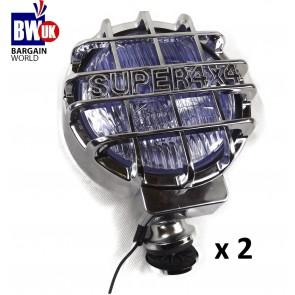 """2 X CHROME 4X4 6.61"""" OFFROAD FOG SPOT HEAD LIGHT DRIVING BEAM BAR UNIVERSAL LAMP"""
