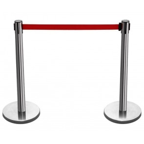 2 X SILVER QUEUE BARRIER POSTS SECURITY STANCHION DIVIDER STEEL SET PAIR BAR-R